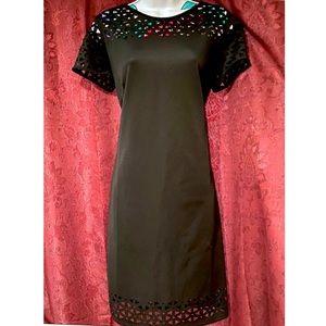 Mark Black Laser Cut Short Sleeve Dress